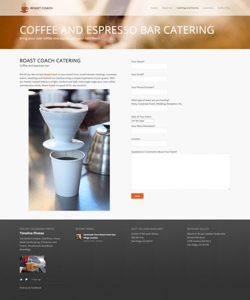 Website Design for Craft Coffee